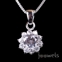 Crystal Clear Cubic Zirconia Rosette Pendant