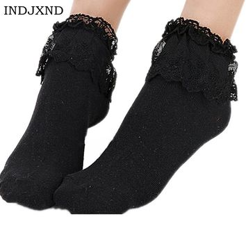 2018 Fashionable Lovely Cute Fashion Women Vintage Lace Ruffle Frilly Ankle Socks Lady Princess Girl Favorite 6 Color Available