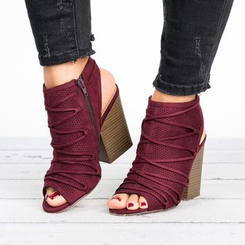 Ruby Open Back Booties - Vino