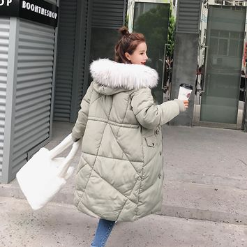 Women Winter Jacket 2017 New Solid Thick Faux Fur Collar Hooded Long Sleeve Casual X-Long Quilted Coats Campera Mujer Abrigo
