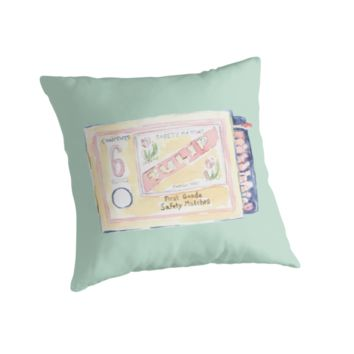 'Vintage Matchbox (Mint Green)' Throw Pillow by yaansoon