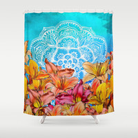 Orange Lilies & White Mandala on Blue Shower Curtain by Micklyn