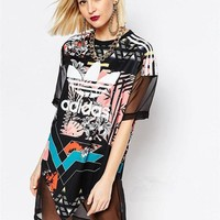 shosouvenir £ºadidas Originals T-Shirt Dress With Trefoil Logo & Sheer Mixed Floral
