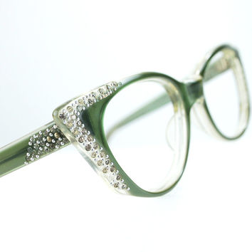 Pointy Green Rhinestone Cat Eye Glasses or Sunglasses Frames Vintage 50s Optical Frame FRANCE medium 48/21