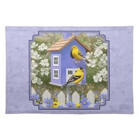 Goldfinches and Purple Birdhouse Cloth Place Mat