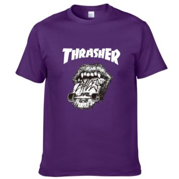 Thrasher Summer fashion new bust letter Lips print T-shirt men and women short sleeve top Purple