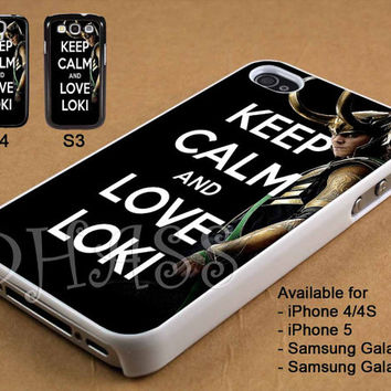 Keep Calm and Love Loki Design for iPhone 4/4s/5 Case, Samsung Galaxy S3/S4 Case