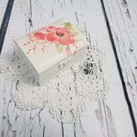 Decoupage romantic delicate spring flowers Wedding rings box, pillow rustic woodland natural shabby chic brown cream