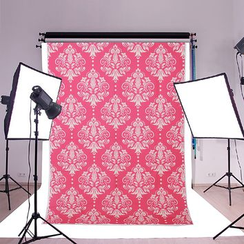 3x5ft Vinyl Pink Newborn Damascus Theme Photography Backdrop Background Studio Prop