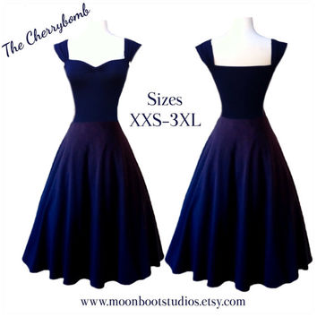 Navy Blue ROCKABILLY Dress, Cap Sleeve, Sweetheart Neckline 1950s Style Stretch Knit Bridesmaid, Casual Wedding, Off the Shoulder