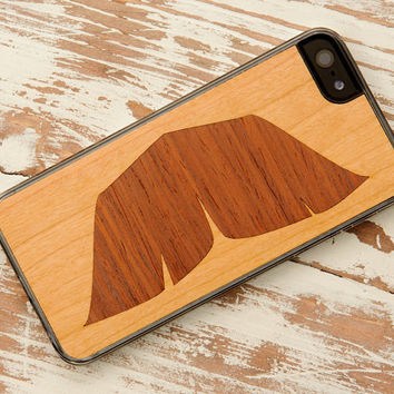 Walrus Mustache Inlay iPhone 5 Wood Clear Case - FREE Shipping
