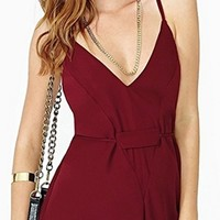 Burgundy Wine Spaghetti Strap V Neck Cross Back Short Romper