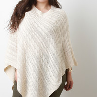 Cable Knit Asymmetrical Poncho