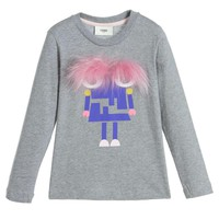 Fendi Girls Grey 'Monster' Top with Fur