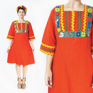 Vintage 70s Boho Hippie Dress Floral Embroidered Dress Floral Cotton Dress Festival Guatemalan Dress Orange Long Sleeve Dress Bric Brac (M)