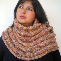 Melange Tan ChunkyWave Cross Cowl Super Soft Mixed  Wool Neckwarmer Unisex  Fashion Cowl Chunky Texture Cowlneck NEW COLLECTION