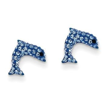 14k Crystal Blue Dolphin Post Earrings YE1605