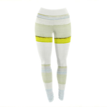 "CarolLynn Tice ""Built to Last"" Yellow White Yoga Leggings"
