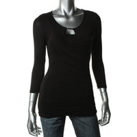 INC Womens Ruched Keyhole Neckline Knit Top