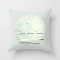 Seashore glorious seashore Throw Pillow by Sylvia Cook Photography