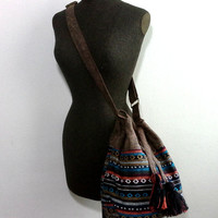 Handmade Bohemian Bucket bag,  Small Brown Bucket Purse. Cute Boho Drawstring Shoulder Bag, Native american Navajo Bucket bag, Gift ideas