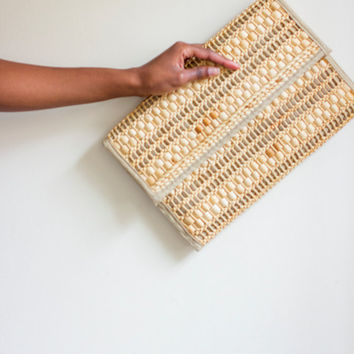 oversized cluch vintage, 70s style, woven purse, large, wicker, rattan handbag, snap closure, envelop clutch, rattan clutch