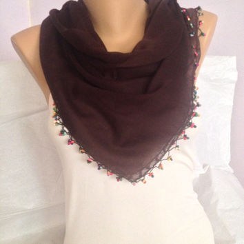 Brown Scarf - Dark Brown Lace Scarf Shawl  - Square Beaded Cotton Scarf - Woman Accessories - Scarf With Colorful Edges