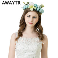 AWAYTR Bridesmaid Flower Crown Wedding Artificial Flower Head Wreath for Women Hair accessories Flower headband Headpiece