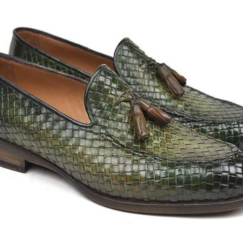 Paul Parkman (FREE Shipping) Woven Leather Tassel Loafers Green  (ID#WVN44-GRN) new