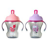 Tommee Tippee 2 Pack 8 Ounce Trainer Straw Cup - Pink/Purple (Colors/Styles May Vary)