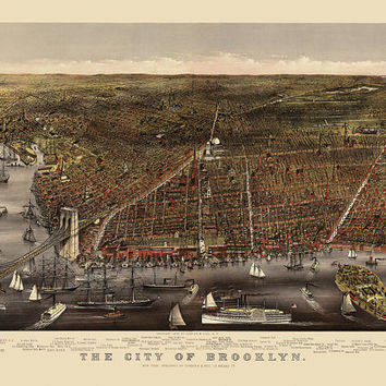 Antique Map of Brooklyn (c1879) by Currier and Ives - Archival Reproduction