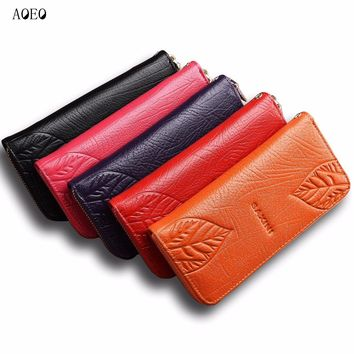 AOEO genuine leather wallet female 3D Embossing Leaves rose  butterfly 4 Cartoon Large Capacity purse for women Girls Wallets