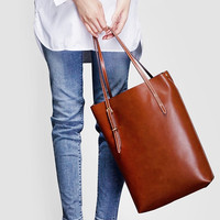 Long Leather Tote Bag