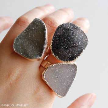 Silver Free Form Shape Druzy Rings - Statement Rings - Spring Jewelry, Choose Your Stone