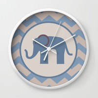 Baby Blue Chevron Elephant Wall Clock by UMe Images