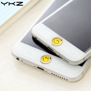 YKZ Cute Universal Smile Home Button Sticker For iPhone 8 7 6 Plus 5 Fingerprint Touch ID Anti Sweat Screen Protector R40