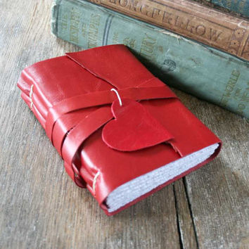 "Leather Journal . LOVE - ""i carry your heart with me"" -ee cummings . Handmade Handbound . supple red (320 pgs.)"