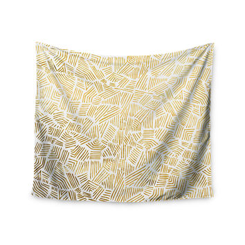 "Pom Graphic Design ""Inca Gold Trail"" Yellow Brown Wall Tapestry"