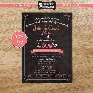 Wedding anniversary invitation, Printable surprise party invitation, Chalkboard pink anniversary invite card