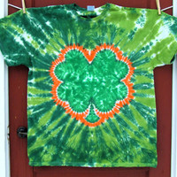Shamrock 4 Leaf Clover St. Patrick's Day Tie Dye T-Shirt - Green and Orange - Made To Order - YOUTH Sizes XS, S, M, L