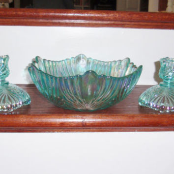 "FENTON LEAF Bowl Iridescent Aquamarine Blue Green Aqua Heavy Crystal 9"" x 4"" Signed Fenton Carnival Glass With Label Excellent Condition"