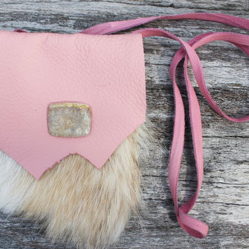 Pink Medicine Bag with Deerskin Leather and Natural Badger Fur, Fossilized Coral Crystal Pouch, Herb Satchel, Spiritual Healing Animal Totem