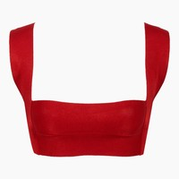 Amanda Knit Solid Square Neck Bikini Top - Cherry Red