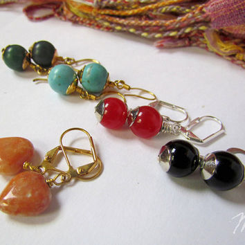 Stone and glass earrings five pairs by SandstarJewelry