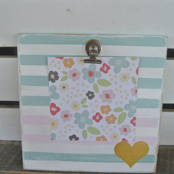 seafoam green and soft pink with gold heart striped wooden clipboard frame art display recipe holder hostess gift