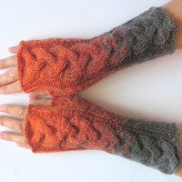 Fingerless Gloves Gray Orange Brown wrist warmers