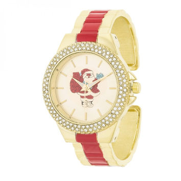 Red And Gold Metal Cuff Santa Crystal Watch