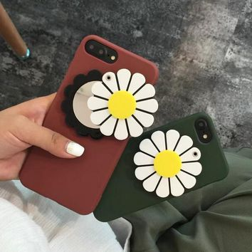 new sunflower mirror case for iphone x 8 7 6s plus gift box  number 1