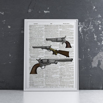 Revolver print Weapon poster Pistol decor