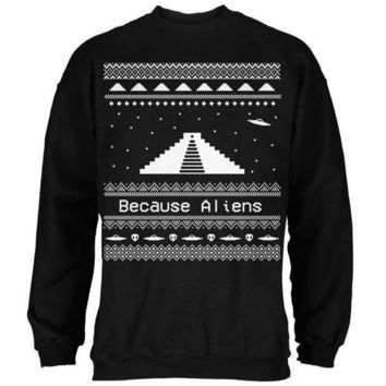 ESBGQ9 Ancient Aliens Ugly Christmas Sweater Black Adult Sweatshirt